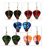 Electric Guitar Charm Guitar Pick Earrings - Choose Color - Handmade in USA