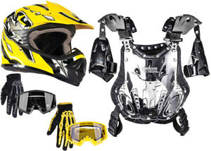Youth Kids Chest Protector Yellow Helmet Combo Yellow or Black Goggles Gloves