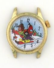 Vintage wind-up Animated Skiing Novelty Character Watch