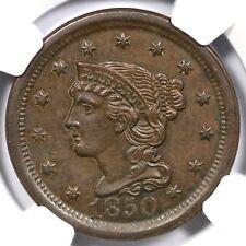 1850 N-9 R-2 NGC AU 55 Braided Hair Large Cent Coin 1c Ex; Newman