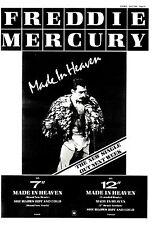 """SNDS6/7/85P13 FREDDIE MERCURY : MADE IN HEAVEN SINGLE ADVERT 15X11"""""""