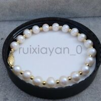 """NATURAL AAA SOUTH SEA WHITE PEARL BRACELET 7.5-8"""" 14K GOLD CLASP"""