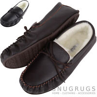 SNUGRUGS Mens / Gents Leather Wool Lined / Sheepskin Moccasins / Slippers