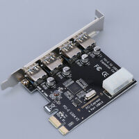 PCI-E USB 3.0 Hub Adapter 4-Port PCI Express Expansion Card 5Gbps Data Port