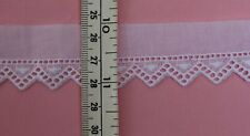 "1/2mtr (20"")White Cotton Swiss Embroidered edging 15mm (5/8) wide dolls, bears +"