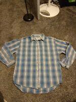 Mens Vintage Levis Blue Plaid Flannel Size XL