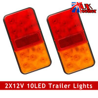 2x LED Rear Stop Lights Tail Brake Signal Indicator Truck Trailer Lorry Van 12V