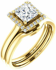 1.13 carat Princess & round DIAMOND Halo Engagement Wedding 14k Yellow Gold Ring
