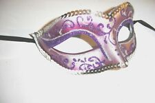MASQUERADE CARNIVAL FANCY DRESS PARTY SPARKLY SILVER SEQUIN LILAC GLITTER MASK