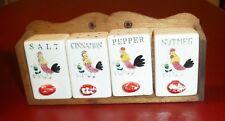 VINTAGE JAPAN ROOSTER HAND PAINTED PEPPER, SALT, NUTMEG, CINNAMON SHAKERS & RACK