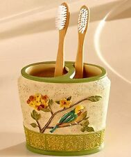 1-PC TOOTHBRUSH HOLDER ANTIQUE AVIARY BIRDS FLOWER BATHROOM HOME DECOR