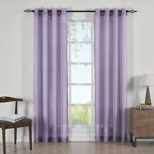 Abri Grommet Crushed Sheer Curtain Panels (Set of 2) 100% Polyester
