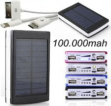 2 USB Power Bank Solar Charger External 100000mah Universal Portable
