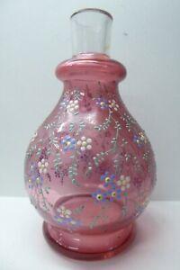 ANTIQUE VICTORIAN CRANBERRY GLASS ENAMEL DAISY FLOWER DECORATED VASE
