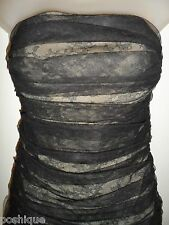 BCBG MAZ AZRIA M Dress Corset Black Lace Nude Lining Ruched Bodycon Cocktail