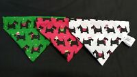 Slide on dog bandanas size XS. christmas dogs in Red or Green or white