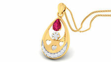 Pave 0.75 Cts Round Brilliant Cut Natural Diamonds Ruby Pendant In 14Karat Gold