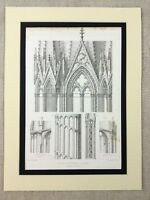 1857 Medieval Gothic Architecture Print French Engraving Reims Cathedral Facade