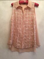 UK 10 WAREHOUSE PEACH SEQUIN FLOATY BLOUSE SUMMER/TOWIE/FESTIVAL/HOLIDAY/PRETTY
