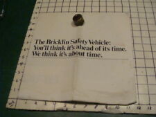 Orig Vint 1973 -- BRICKLIN GREEN CAR brochure/poster 20 x 23""