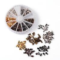 BOITE de tri d'env. 420 EMBOUTS à ECRASER PLIER 6 x 3mm 6 COULEURS perles bijoux