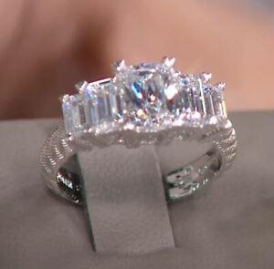 Judith Ripka 2.75 tcw Diamonique Rectangular Sterling Silver Ring- SZ 7 NWT