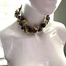 ABRA Gold, Copper, & Bronze Tone Chunky Nugget Double Strand Choker Necklace