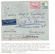 DUTCH INDIES 1931-8-20  MALANG AUSTRIA  COMBI (SHIP-TRAIN-PLANE )   F/VF