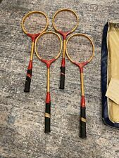 Lot Of 4 Vintage Badminton Racket Red Ribbon Wooden With Bag And Instructions