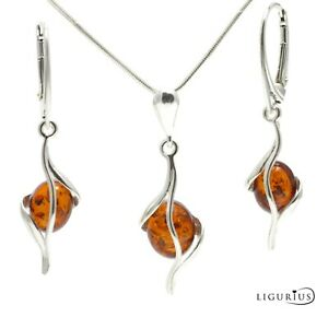 BALTIC AMBER SILVER 925 Jewellery SET EARRINGS & NECKLACE CHAIN Certified