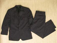 Jos A Bank Black Wool Suit Men's Size 42R 3 Button Jacket 36x27.5 Pants Pleated