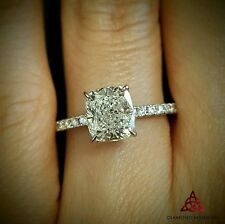 1.10ct Natural Cushion Pave Diamond Engagement Ring - GIA Certified