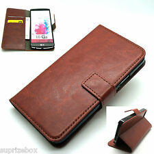 Premium Vintage Leather Flip Case Wallet Cover For New LG Models