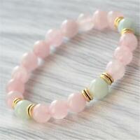 8mm Rose Quartz Beads Handmade Mala Bracelet Bangle Tibetan Spirituality