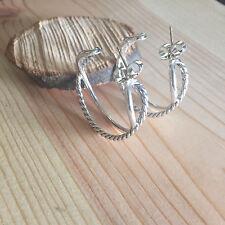 Authentic David Yurman $375 NEW w POUCH Crossover Hoop Earrings Sterling silver