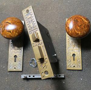 Antique Authentic Sargent Set Door Lock Doorknobs, Backplates Pat. June 21/1881