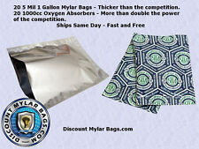 20 5 Mil 1 gallon Mylar Bags +1000cc Oxygen Absorbers for Long Term Food Storage