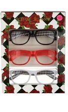BETSEY JOHNSON  3 pk Diamond & Solid Black, Pink, White Readers Glasses +1.5 NIB