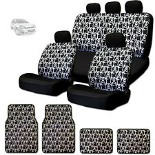 NEW COOL SKULL DESIGN FRONT AND REAR CAR SEAT COVERS FLOOR MATS SET FOR CHEVY