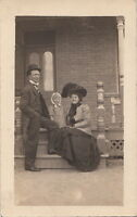 RPPC Postcard Family Outside on Porch c. 1900s