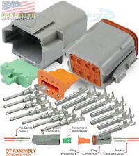 Deutsch 8-Pin Connector Grey Pins & Seals Crimp Terminals,14-16 AWG