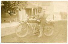 "RPPC Motorcycle ""Indian""  Man on His Bike Washington Missouri"