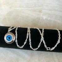 925 Sterling Silver eye Pendant W/CZ blue eye