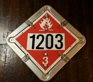 """Vintage Flip-File D.O.T. Truck Placard 13.5"""" x 13.5"""" Aluminum.  6 Legend."""