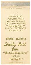 Shady Rest Inn, Clam Bake Haven, Restaurant, Catering Nj Vintage Matchbook Cover