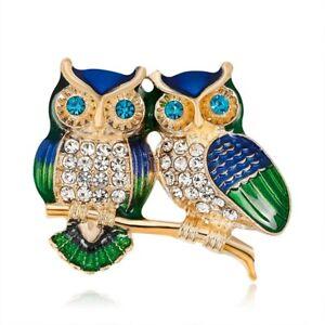 Rhinestone Owl Brooches Wedding Bridal Metal Pins Fashion Animal Quality Jewelry