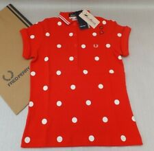 FRED PERRY Amy Winehouse Ladies Polka Dot Shirt UK 12 BNWT Red