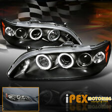 1998-2002 Honda Accord 2/4Dr AngelEyE Halo Projector LED Headlights Black