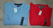 New Chaps Ralph Lauren Mens Cable Knit Sweater Green Red Size L/XL Cotton
