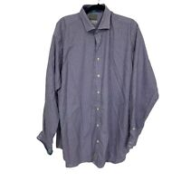TD Thomas Dean L/S Button Down Shirt Sz XXL Flip Cuffs Blue Plaid